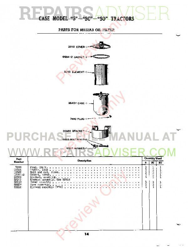 Case Model S, SC, SO Tractors Parts Catalog PDF, Case Manuals by www.repairsadviser.com