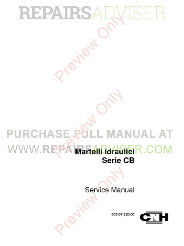 Case Hydraulic Hammers CB Series Service Manual PDF