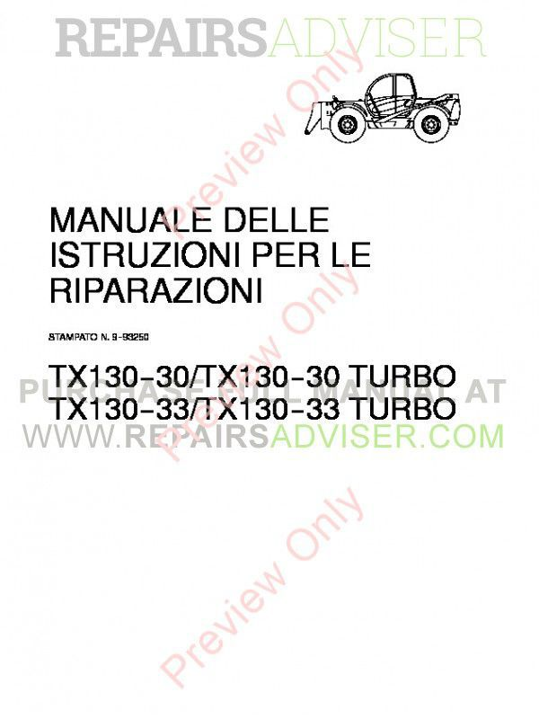 Case TX130-30/TX130-30 turbo & TX130-33/TX130-33 turbo Telehandler Workshop Manual PDF image #1