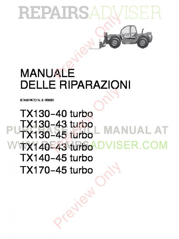 Case TX130-40 TX130-43 TX130-45 TX140-43 TX140-45 TX170-45 turbo Telescopic Handlers Service Manual PDF