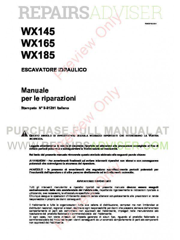 Case WX145, WX165, WX185 Hydraulic Excavators Service Manual PDF