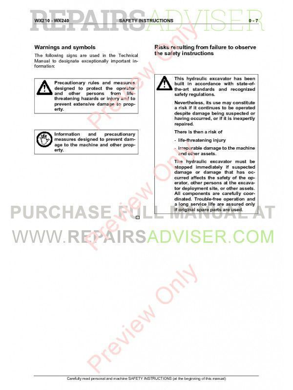 Case WX210, WX240 Hydraulic Excavator Service Manual PDF, Case Manuals by www.repairsadviser.com