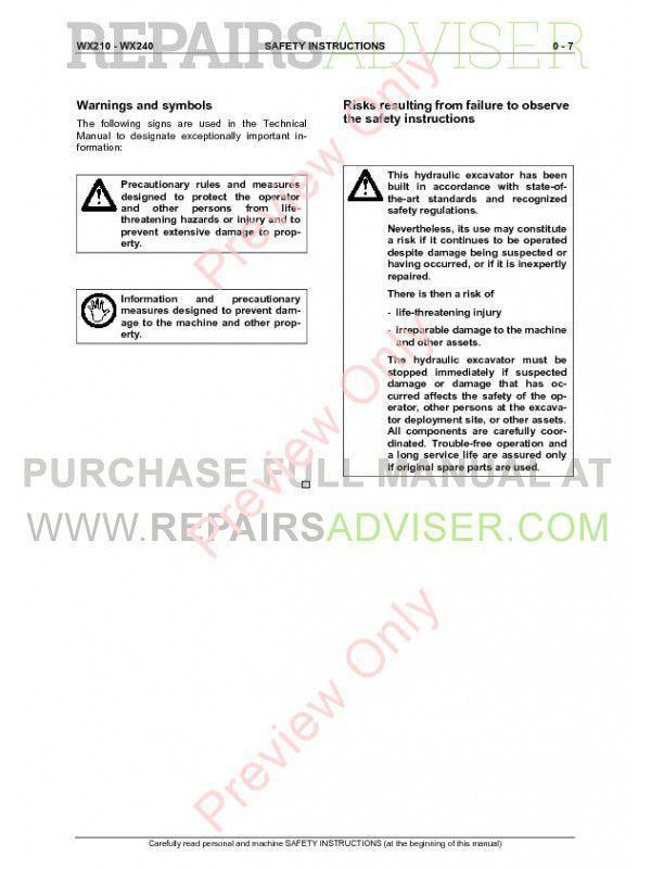 Case WX210, WX240 Hydraulic Excavator Service Manual PDF, Case Manuals by www.repairsadviser.com