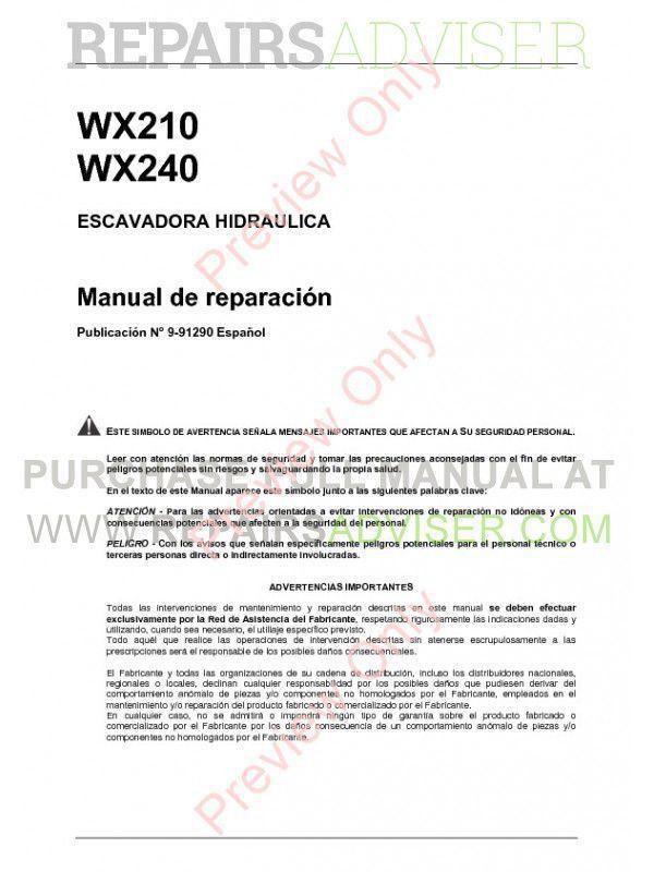 Case WX210, WX240 Hydraulic Excavator Service Manual PDF image #1