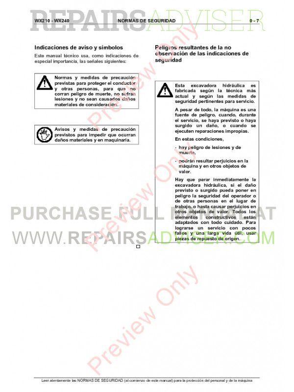 Case Wx210  Wx240 Hydraulic Excavator Service Manual Pdf
