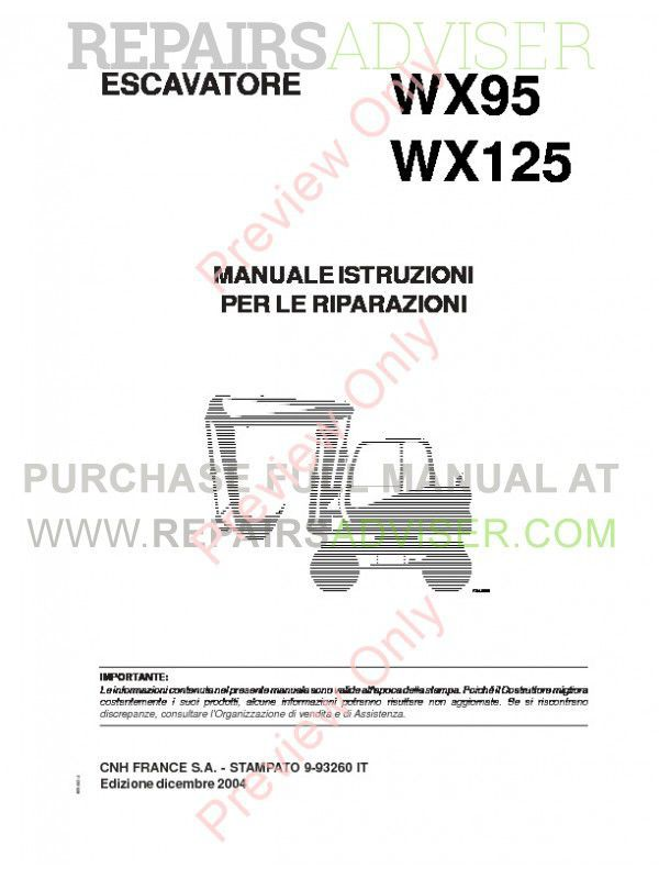 Case WX95 and WX125 Wheeled Excavators Service Manual PDF image #1