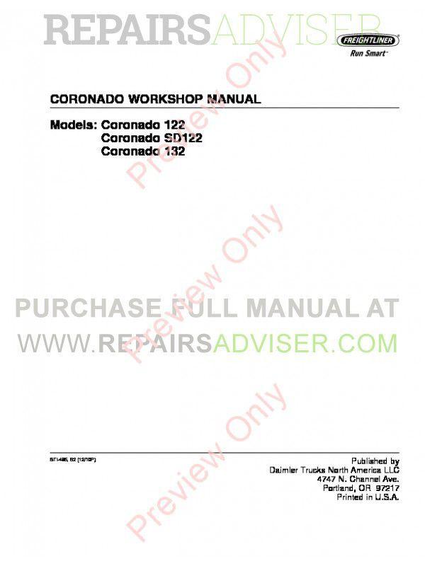 Freightliner Trucks Coronado 122/SD122/132 Workshop Manual PDF image #1