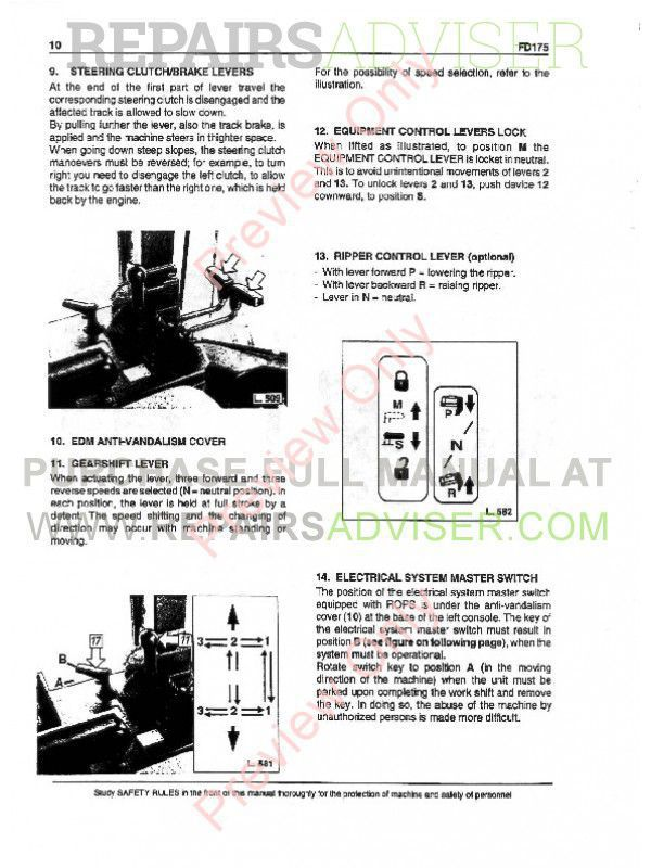 FiatAllis FD175 Crawler Dozer Operation and Maintenance Instruction + Service Manual PDF,  by www.repairsadviser.com