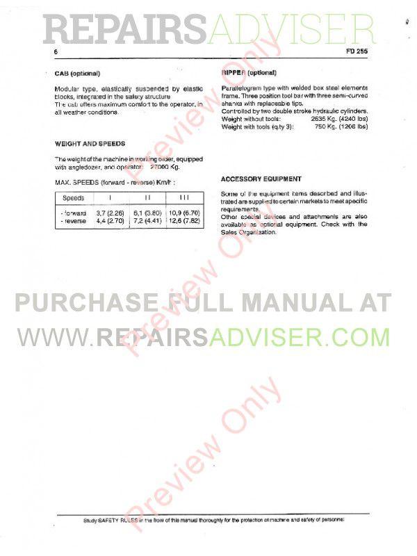 FiatAllis FD255 Crawler Dozer Operation and Maintenance Instruction + Service Manual PDF,  by www.repairsadviser.com