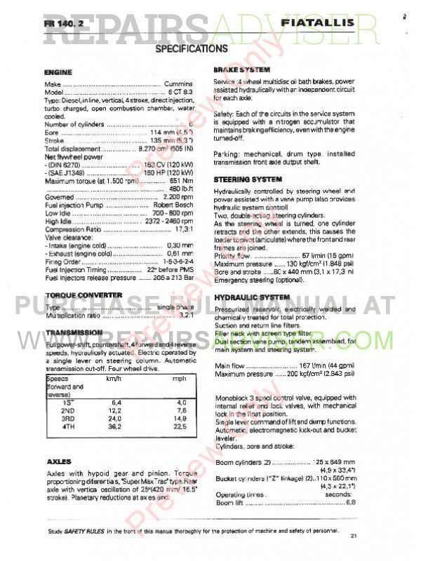 FiatAllis FR140.2 Wheel Loader Operation and Maintenance Instruction + Service Manual PDF,  by www.repairsadviser.com