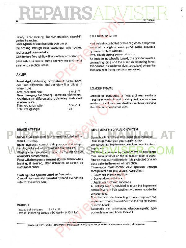 FiatAllis FR160.2 Wheel Loader Operation and Maintenance Instruction + Service Manual PDF,  by www.repairsadviser.com