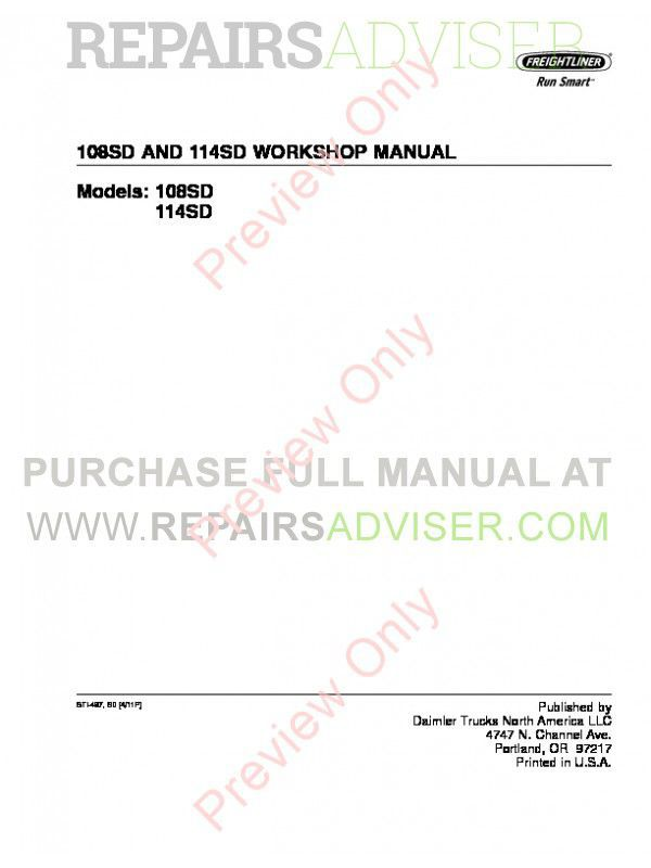 Freightliner 108SD and 114SD Trucks Workshop Manual PDF image #1