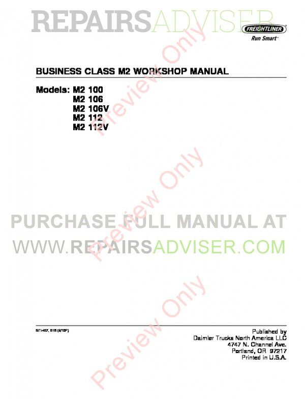Freightliner Business Class M2 Workshop Manual PDF image #1