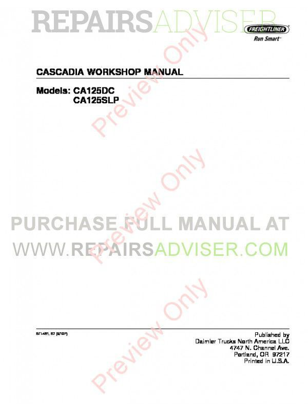 Freightliner Cascadia CA125DC, CA125SLP Workshop Manual PDF image #1