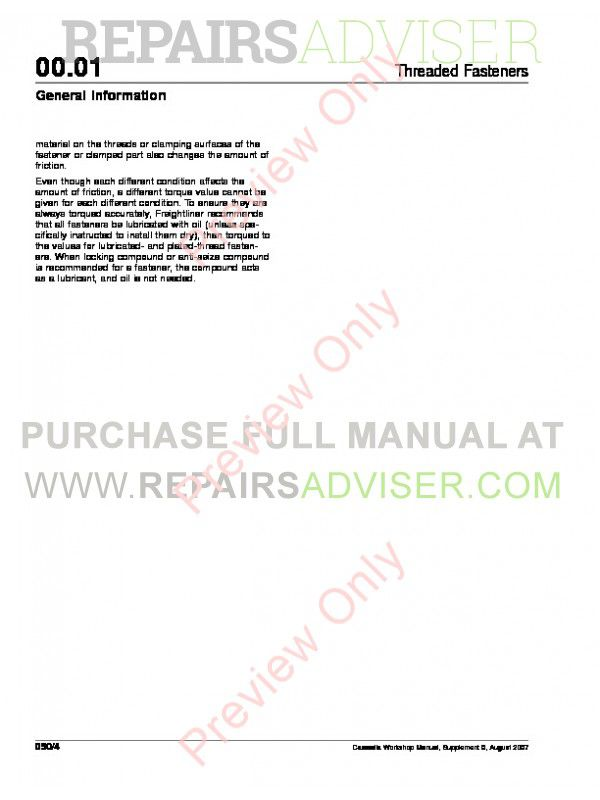 Freightliner Cascadia CA125DC & CA125SLP Workshop Manual PDF, Manuals for Trucks by www.repairsadviser.com