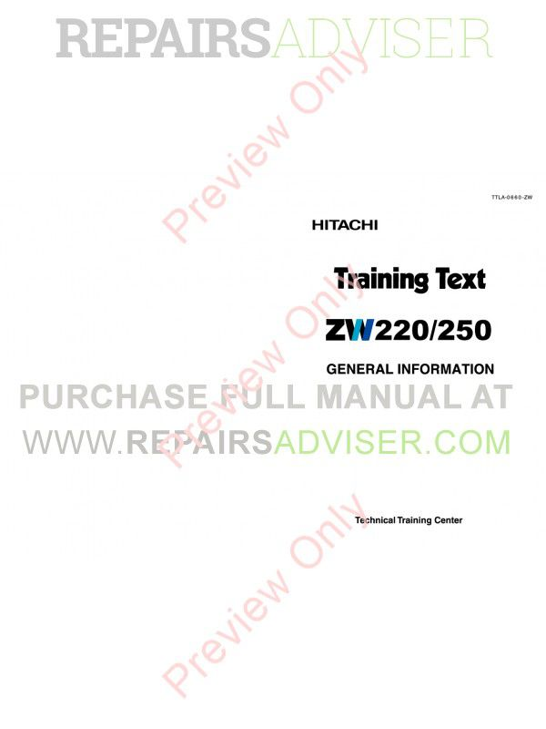 Hitachi ZW220/250 Wheel Loader PDF Manual image #1
