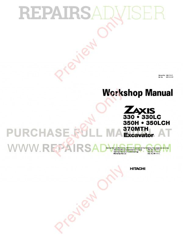 Hitachi Zaxis 330, 330LC, 350H, 350LCH, 370MTH Excavator Workshop Manual PDF image #1