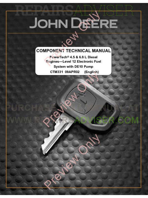 John Deere Level 12 Electronic Fuel System with DE10 Pump Technical Manual CTM331 PDF image #1