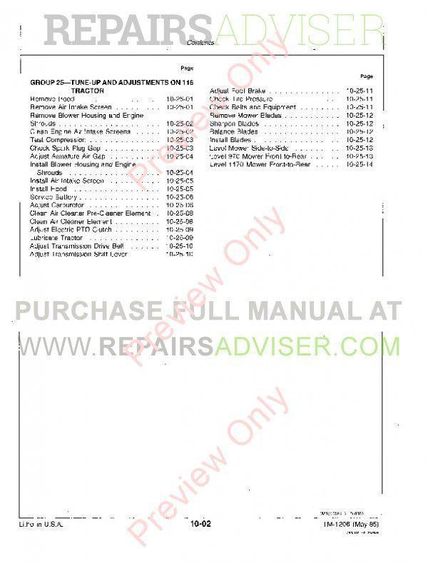 John Deere 108 111 111Н 112L 116 Lawn Тractors Technical Manual TM-1206 PDF