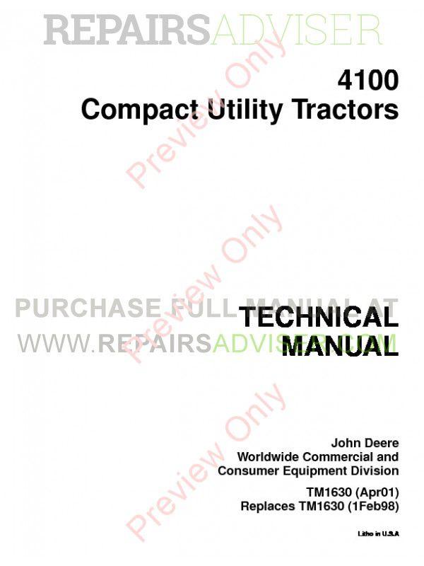 John Deere 4100 Tractor Compact Utility Technical Manual TM-1630 PDF image #1