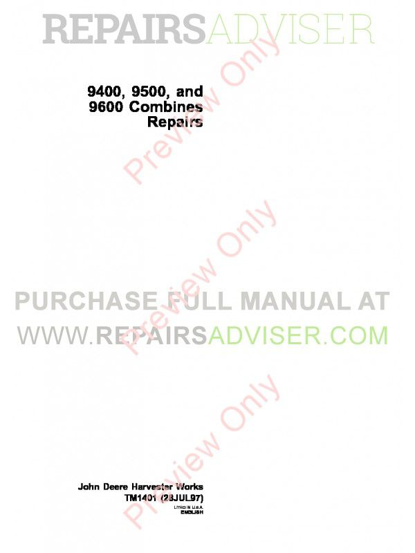 John Deere 9400 9500 9600 Combines Repairs Technical Manual TM-1401 PDF image #1