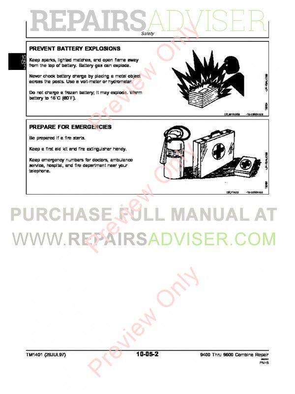 John Deere 9400 9500 9600 Combines Repairs Technical Manual Tm