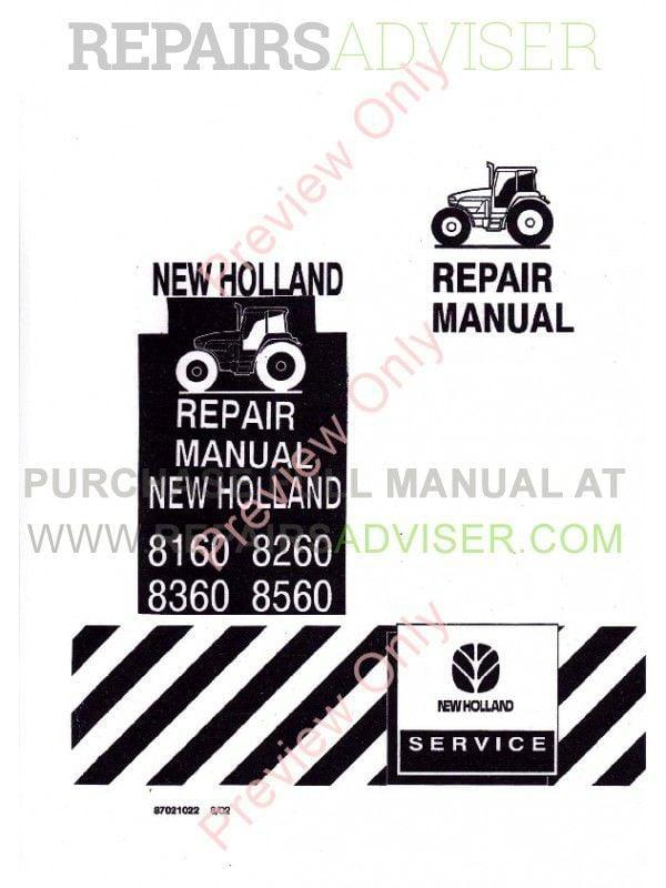 New Holland 8160 8260 8360 8560 Tractors Repair Manual PDF image #1