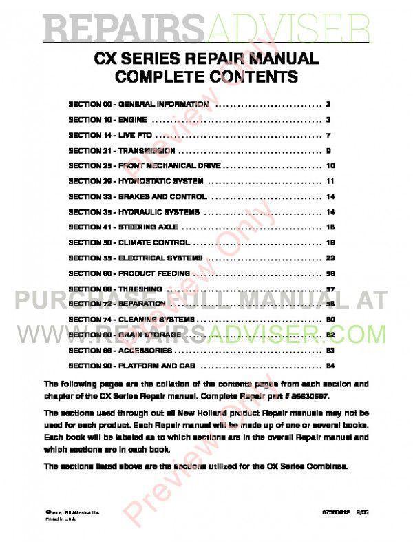 New Holland CX Series Combines Repair Manual PDF