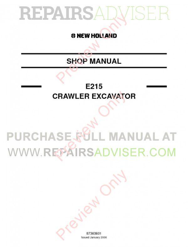 New Holland E215 Crawler Excavator Shop Manual PDF
