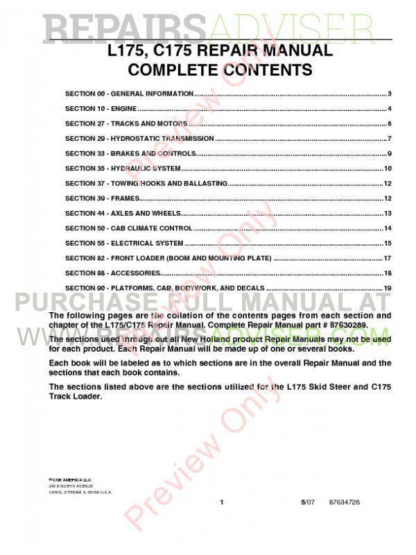 Download New Holland L175 C175 Loader Service Manual PDF on