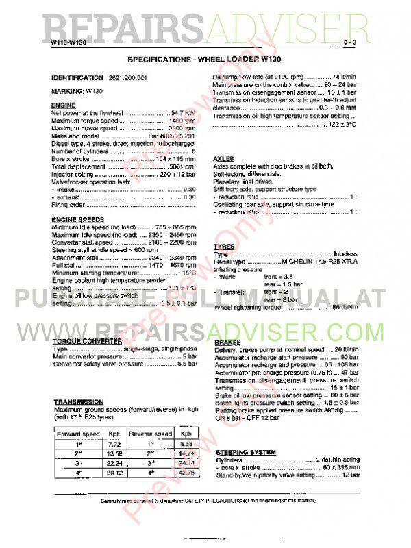 New Holland LW110, LW130 Wheel Loader Service Manual PDF