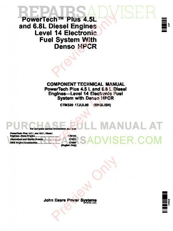 John Deere PowerTech Plus 4 5L, 6 8L Diesel Engines-Level 14
