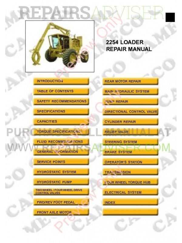 Cameco SP2254 Cane Loader Repair Manual PDF, Manuals for Heavy Equip. by www.repairsadviser.com