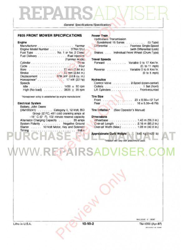 John Deere F912 F915 F935 Front Mowers Technical Manual TM ... on