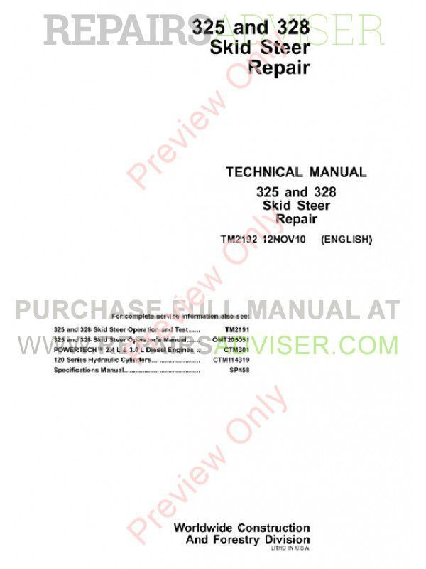 John Deere 325, 328 Skid Steer Repair Technical Manual TM-2192 PDF image #1