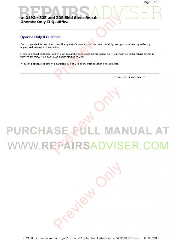 John Deere 325 & 328 Skid Steer Repair Technical Manual TM-2192 PDF, John Deere Manuals by www.repairsadviser.com
