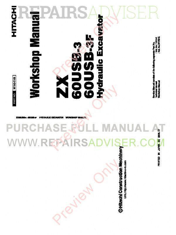 Hitachi ZX 60USB-3 & ZX 60USB-3F Hydraulic Excavator Workshop Manual PDF image #1