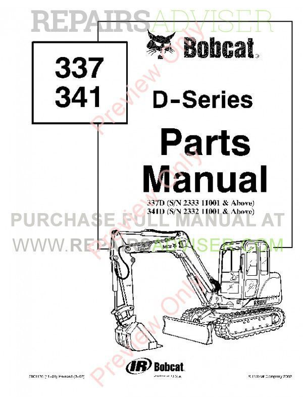 Bobcat 337, 341 D-Series Excavators Parts Manual PDF