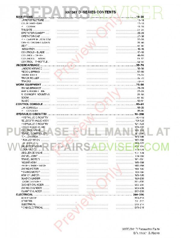 Bobcat 337, 341 D-Series Excavators Parts Manual PDF, Bobcat Manuals by www.repairsadviser.com