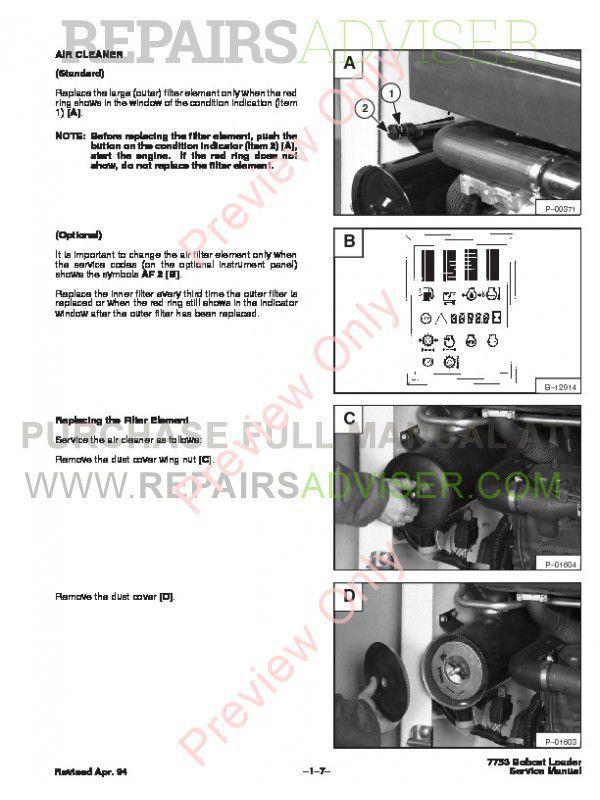 Bobcat 7753 Skid Steer Loader Service Manual PDF, Bobcat Manuals by www.repairsadviser.com