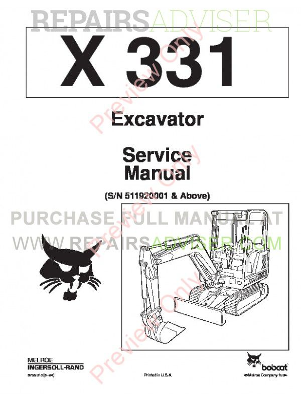 Bobcat X 331 Excavator Service Manual PDF, Bobcat Manuals by www.repairsadviser.com