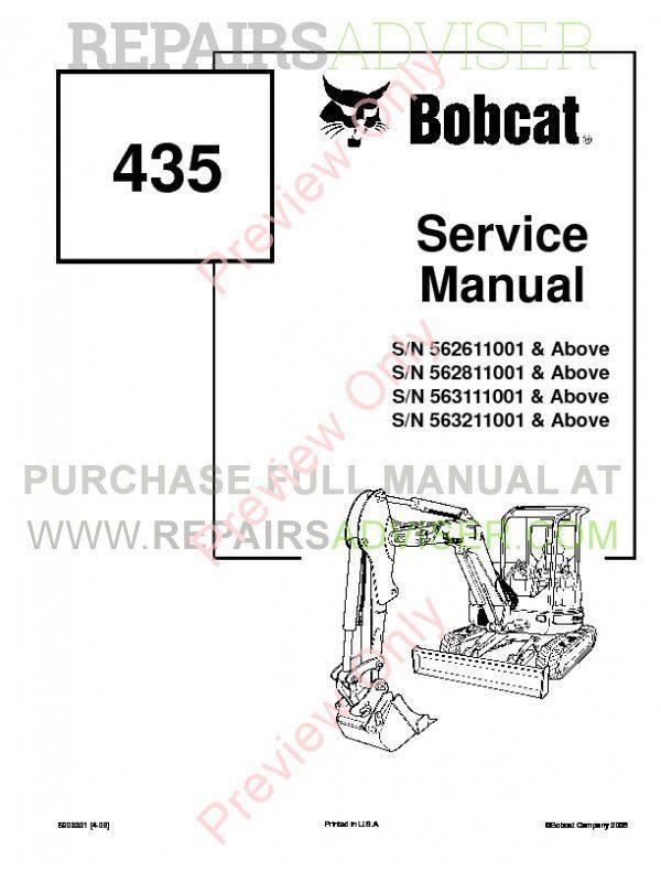 Bobcat 435 Compact Excavator Service Manual PDF image #1