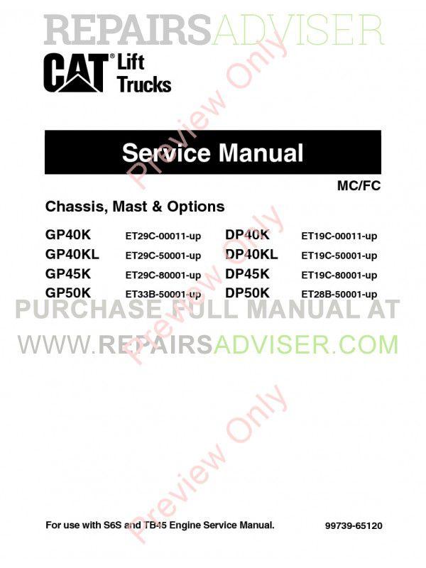 Caterpillar GP40K, GP40KL, GP45K, GP50K, DP40K, DP40KL, DP45K, DP50K Lift Trucks Service Manual PDF image #1