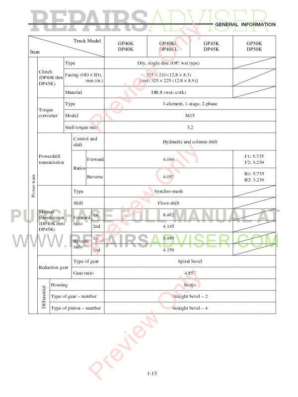 Caterpillar GP40K, GP40KL, GP45K, GP50K, DP40K, DP40KL, DP45K, DP50K Lift Trucks Service Manual PDF, Caterpillar Manuals by www.repairsadviser.com