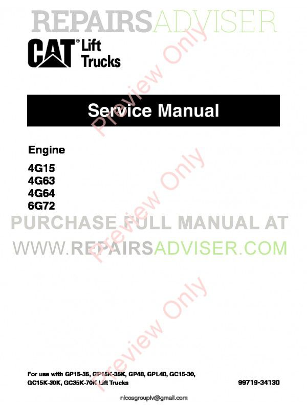 Caterpillar Engine 4G15, 4G63, 4G64, 6G72 Lift Trucks Service Manual PDF