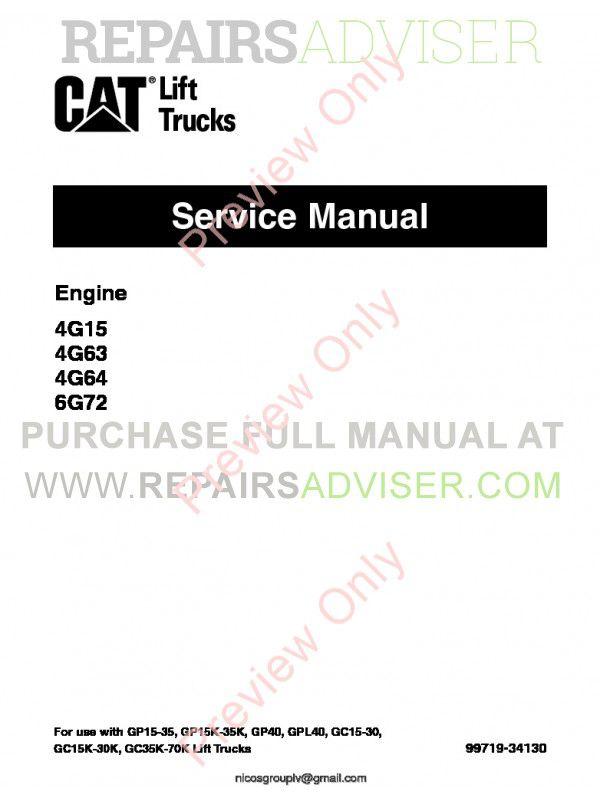 Caterpillar Engine 4G15, 4G63, 4G64, 6G72 Lift Trucks Service Manual PDF, Caterpillar Manuals by www.repairsadviser.com