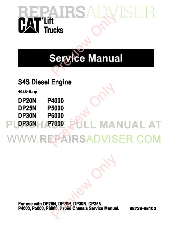 Caterpillar S4S Diesel Engine DP20N, DP25N, DP30N, DP35N Lift Trucks Service Manual PDF image #1