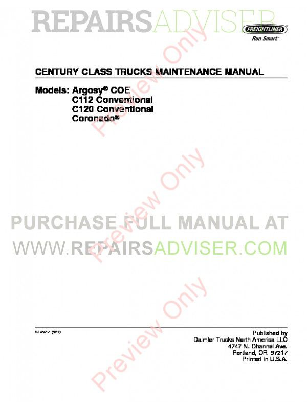 Freightliner Century Class Maintenance Manual PDF, Manuals for Trucks by www.repairsadviser.com