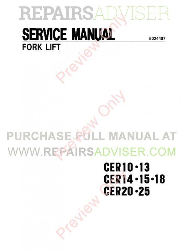 Clark CER10-13 CER14-15-18 CER20-25 Forklift Service Manual PDF, Clark Manuals by www.repairsadviser.com