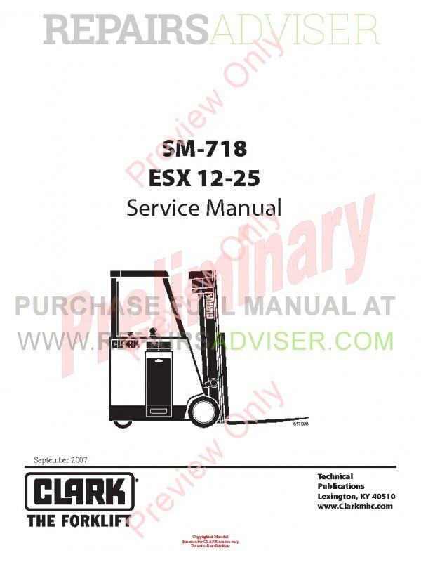 Clark ESX 12-25 Forklift SM-718 Service Manual PDF, Clark Manuals by www.repairsadviser.com